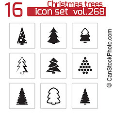 Vector black christmas tree icons set