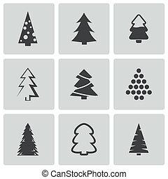 Vector black christmas tree icons set