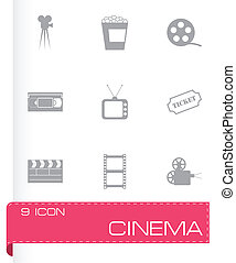 Vector black cinema icons set