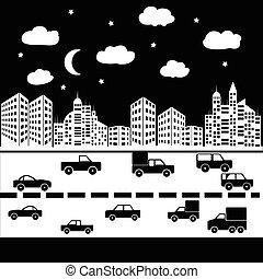 vector black city