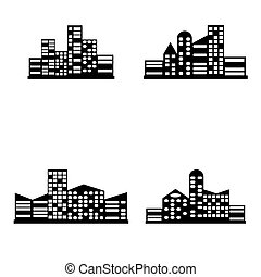 vector black city icons set