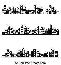 vector black city icons set