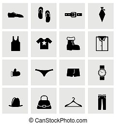 Vector black clothes icon set on grey background