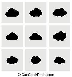Vector black cloud icon set on grey background