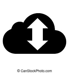 vector black cloud with arrow icon on white background.