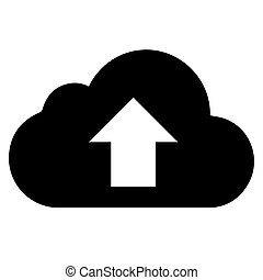 vector black cloud with arrow icon on white background. eps 10
