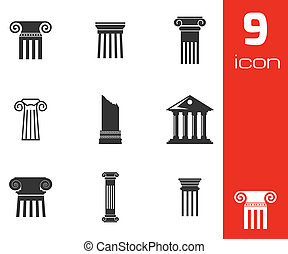 Vector black column icons set on white background