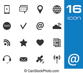Vector black Communication icons set on white background