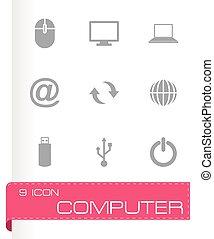 Vector black computer icon set