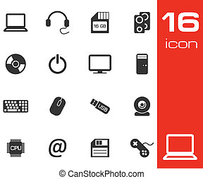 Vector black Computer icons set on white background