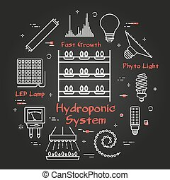 Vector black line concept of hydroponic and growth phyto led light - hydroponic system icon. Various equipment for illumination and cultivation of crops and plants. Modern innovative technologies