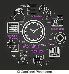 Vector black concept of online support - working hours icon...
