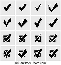 Vector black confirm icon set on grey background