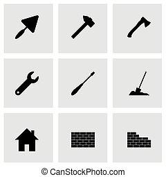 Vector black construction icon set