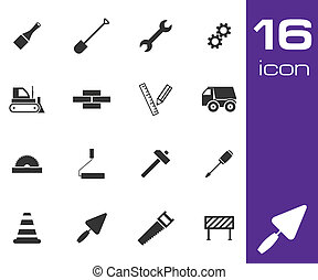 Vector black construction icons set on white background