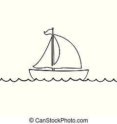 Yacht boat icon isolated on white background.
