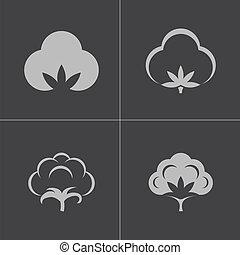 Vector black cotton icons set