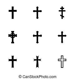Vector black crosses icon set