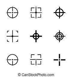Vector black crosshair icon set on white background