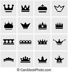Vector black crown icon set
