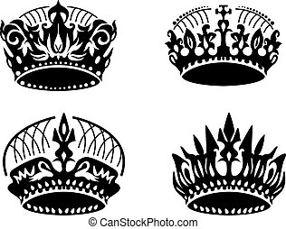 Vector black crown icons set on white