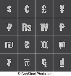 Vector black currency symbols set