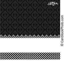 Vector Black Damask and Dot Background