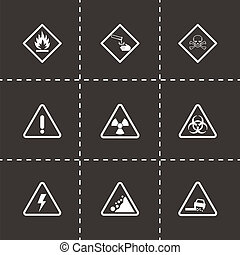 Vector black danger icons set