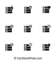 Vector black database icons set