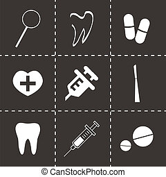 Vector black dental  icons set