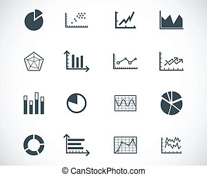 Vector black  diagram icons set