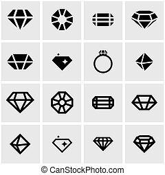 Vector black diamond card icon set