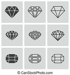 Vector black diamond icons set on white background