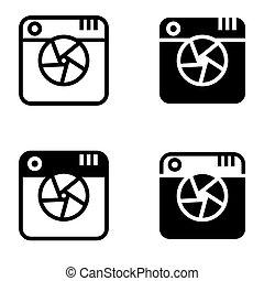 Vector black digital camera icons set