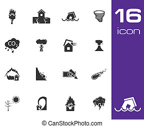 Vector black  disaster icons set on white background
