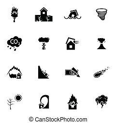 Vector black  disaster icons set on white background