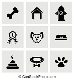 Vector black dog icon set on grey background