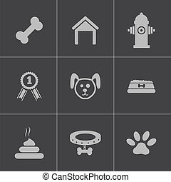 Vector black dog icons set