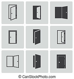 Vector black door icons set on white background