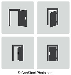 Vector black door icons set
