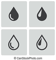 Vector black drop icons set