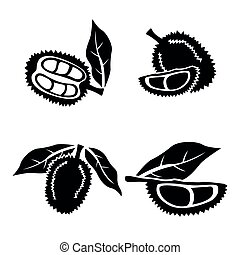 Vector Black Durian Icons Silhouette Set on White Background