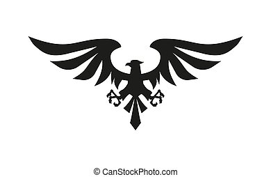 Vector black eagle symbol on white background.