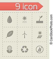 Vector black eco icon set