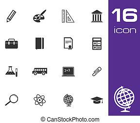 Vector black education icon set on white background