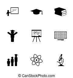 Vector black education icons set