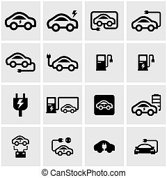 Vector black electric car icon set