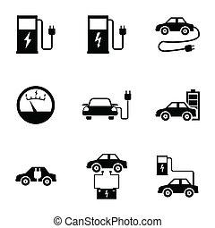 Vector black electric car icons set