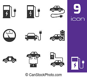 Vector black electric car icons set white background