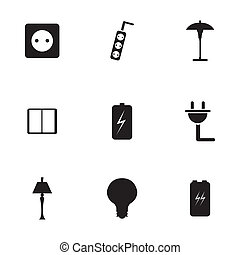 Vector black electricity icons set